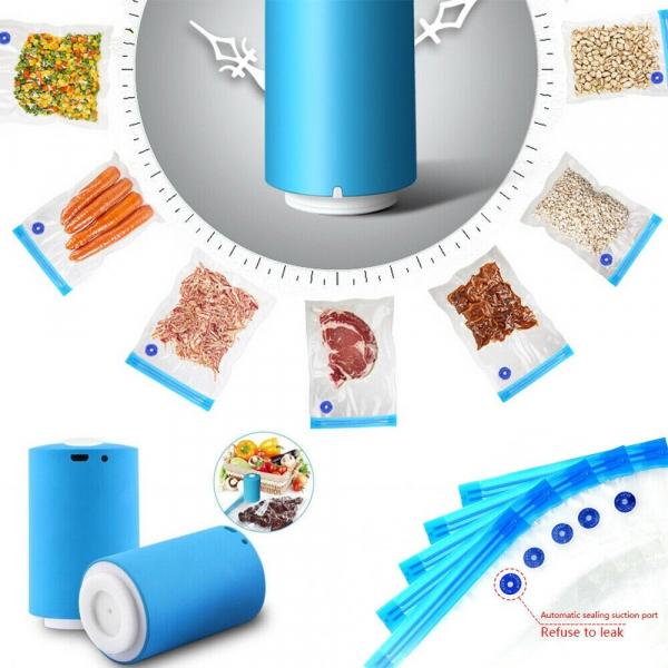 Mini aparat electric de vidat pungi, 5 pungi de etansare incluse, albastru [1]