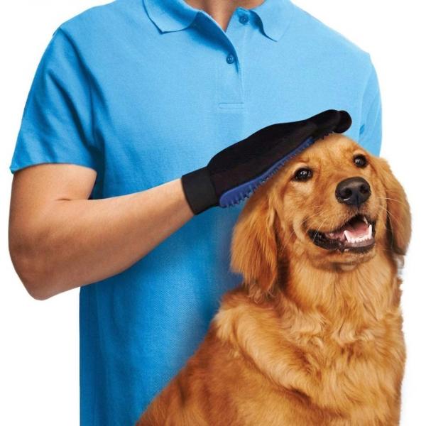 Manusa pentru periat animale True Touch, culoare albastru/negru [3]