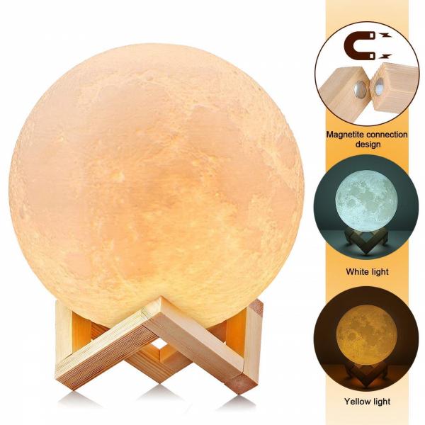 Lampa Luna Moon LED Portabila, Alb Cald si Rece, Intensitate Reglabila, Reincarcabila [0]