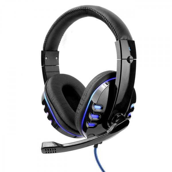 Casti gaming cu microfon,LED albastru, Negru, Microfon cu functie de reducere a zgomotului, Pernute din piele [2]