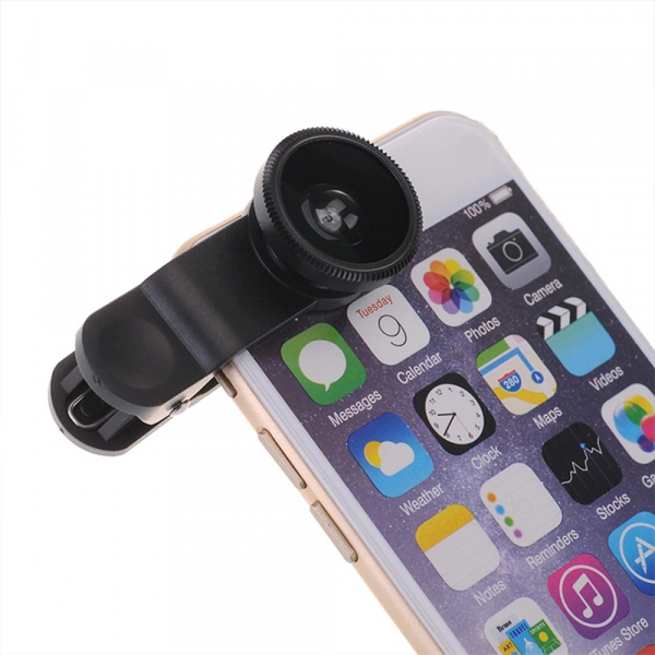Set Kit 3in1 Lentile Profesionale pentru Telefon sau Tableta - Fish Eye Macro Wide Angle - GRI [3]