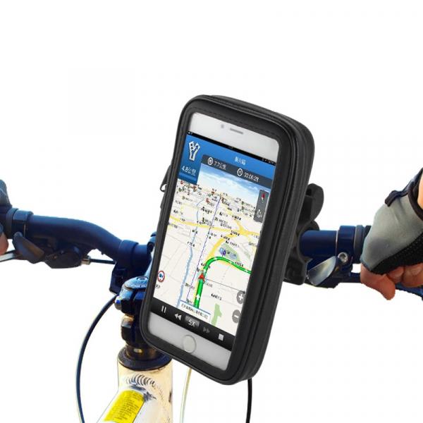 Suport husa telefon mobil pentru bicicleta si motocicleta, rezistent apa si socuri, touchscreen, 360* rotativ, negru [1]