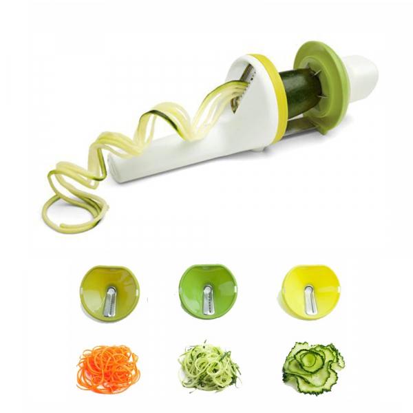 Aparat de feliat in spirala pentru fructe si legume, 3 functii, alb cu verde [3]