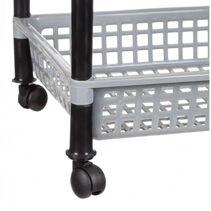 Raft plastic pentru depozitare cu roti, gri, 30x40x56 cm [2]