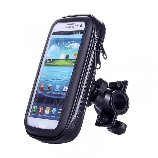 Suport husa telefon mobil pentru bicicleta si motocicleta, rezistent apa si socuri, touchscreen, 360* rotativ, negru [2]