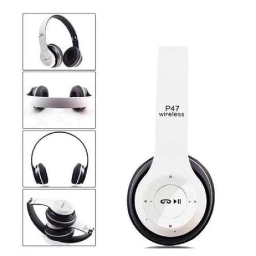 Casti bluetooth cu microfon si radio, pliabile, TF Card/FM Stereo Radio/MP3 Player/Wireless P47 alb [1]