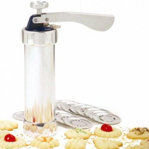 Aparat pentru Biscuiti si Fursecuri Grunberg, 20 de Forme, 4 Duze, Sigur si Rezistent, Usor de Folosit, Argintiu [2]