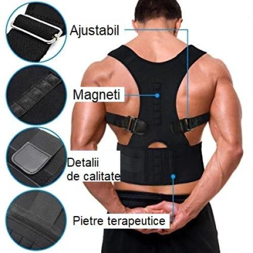Corector postura spate Real Doctors cu magneti, centura spate, centura corectoare, ham spate negru [3]