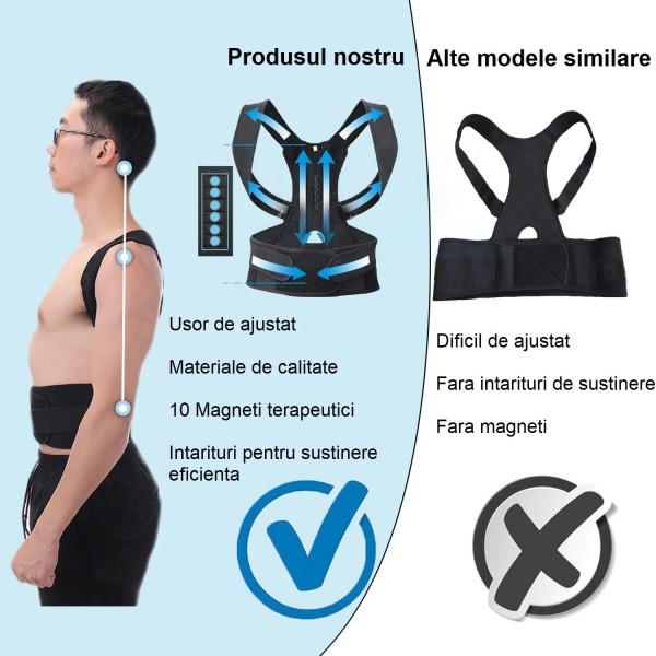 Corector postura spate Real Doctors cu magneti, centura spate, centura corectoare, ham spate negru [4]