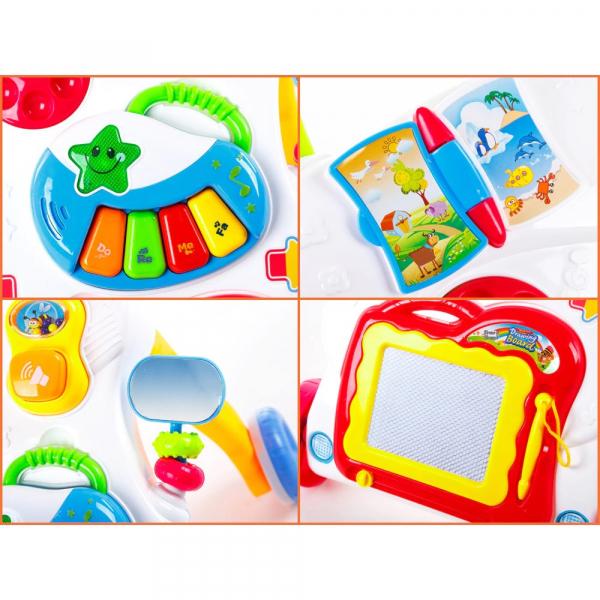 Antepremergator Baby First Step, Jucarii detasabile, tabla de scris, telefon, pian, toate detasabile, lumini si sunete, 45 cm inaltime [3]