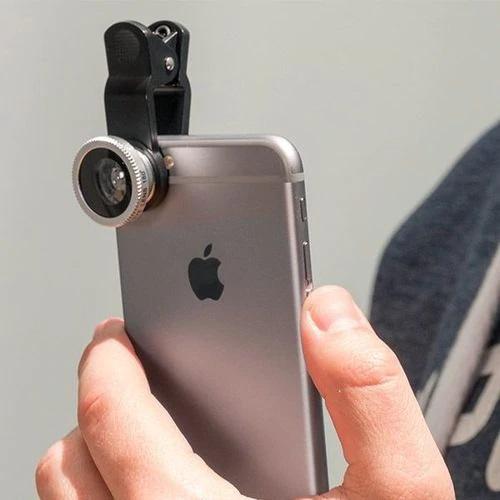 Set Kit 3in1 Lentile Profesionale pentru Telefon sau Tableta - Fish Eye Macro Wide Angle - GRI [6]