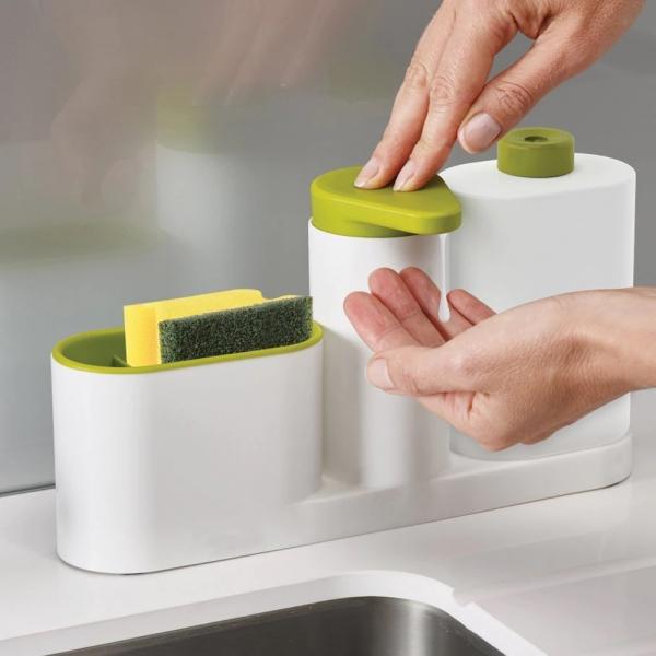 Set organizator de chiuveta 3 in 1, Dispenser Detergent de Vase, Sapun Lichid si Suport pentru Burete de Bucatarie, alb/verde [0]