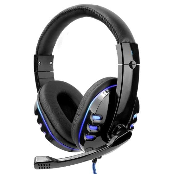 Casti gaming cu microfon,LED albastru, Negru, Microfon cu functie de reducere a zgomotului, Pernute din piele [0]