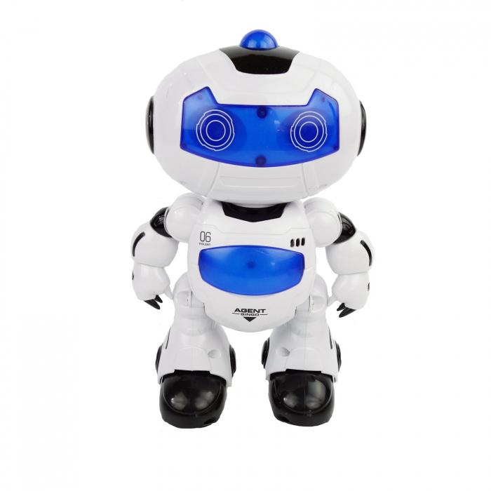 Robot inteligent, cu miscare, muzica, sunete, dans, 22 cm, alb/albastru [0]