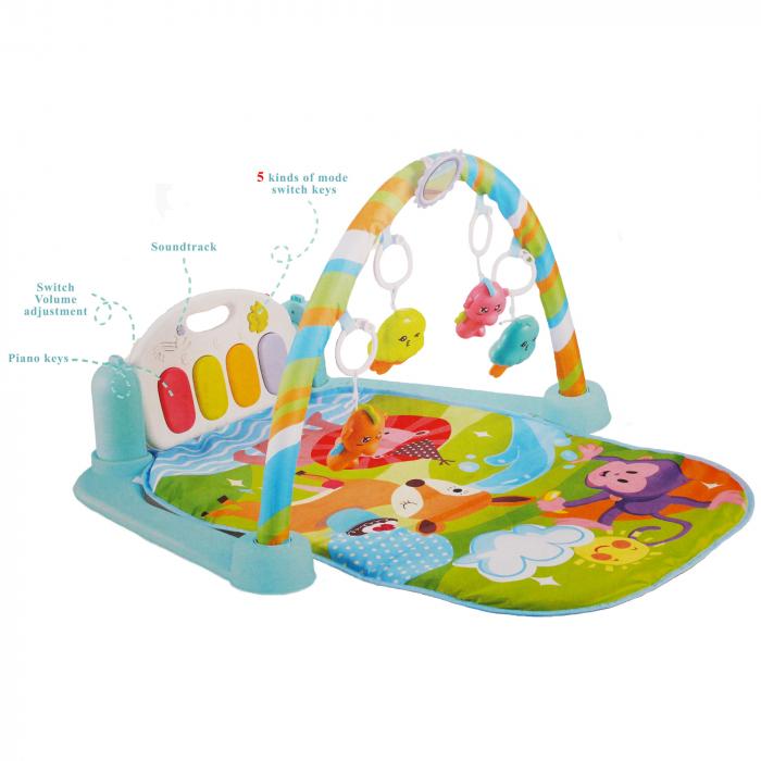 """Saltea interactiva - Centru de activitati 5 in 1 cu pian pentru dezvoltarea musculaturii picioarelor, sunete, jucarii zornaitoare """"Baby piano Gym Mat Colorful Animals"""" [0]"""