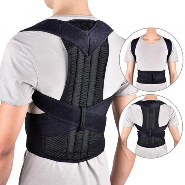 Suport corector pentru spate cu bretele ajustabile, unisex, negru [1]