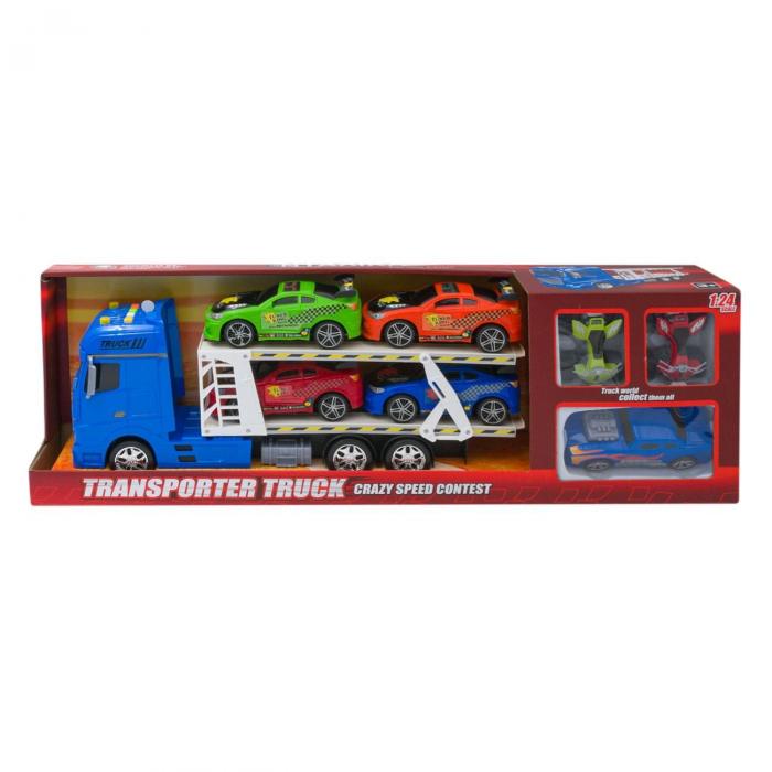 Tir albastru cu platforma + 4 masini sport + 1 masina de curse + 2 ATV-uri multicolore, are lumini si sunete realiste, pentru copii , ATS + 5 ani [3]