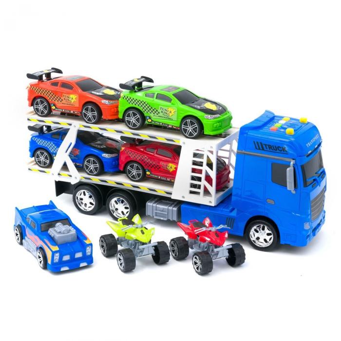 Tir albastru cu platforma + 4 masini sport + 1 masina de curse + 2 ATV-uri multicolore, are lumini si sunete realiste, pentru copii , ATS + 5 ani [2]