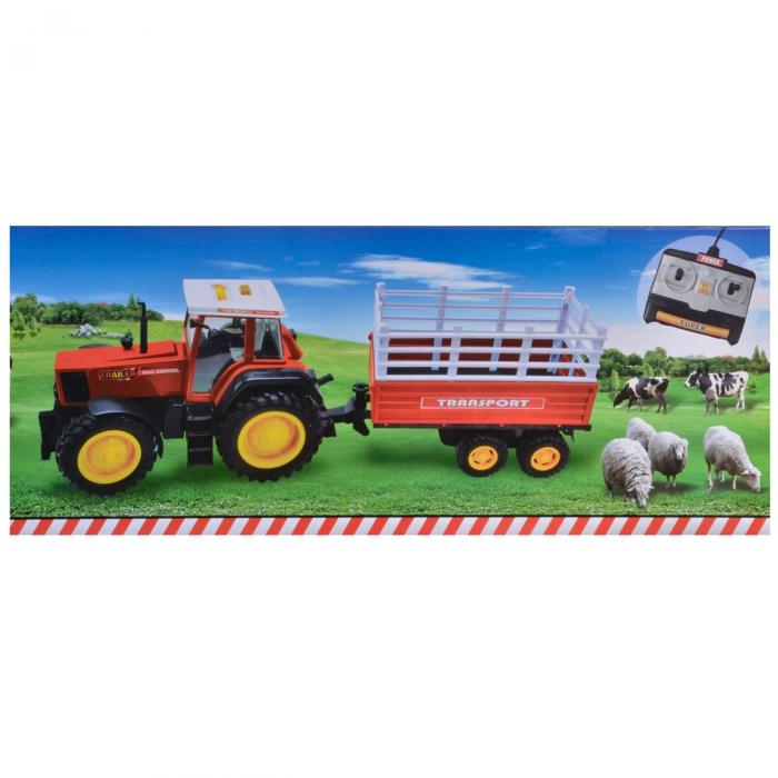 Tractor de fermier, South Perfect Decor, rosu cu remorca si telecomanda, 92x18x25 cm [1]