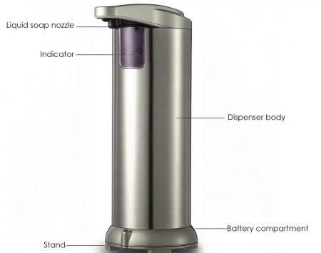 Dozator de Sapun Lichid Metalic cu Senzor 280 ML Capacitate [2]