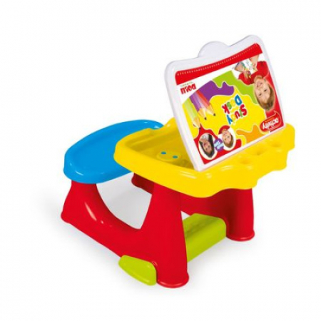 Birou pentru copii cu bancuta si accesorii pentru desenat cu 8 carioci si 10 pagini de colorat [0]
