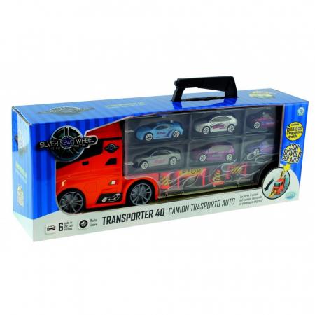 Camion transport auto 40 cm + 6 masinute si semne rutiere Silver Wheel [0]