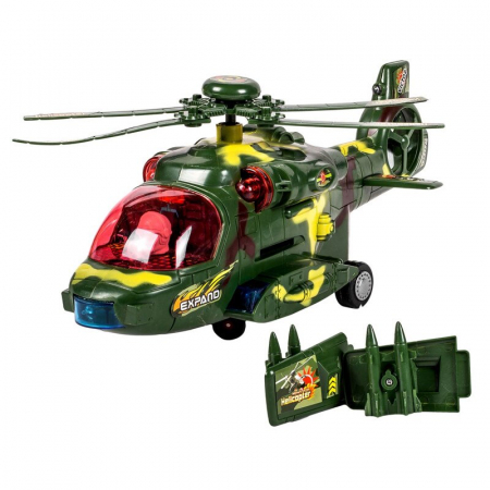 Elicopter militar Bump & Go, lumini si sunete, 3 ani+ [0]