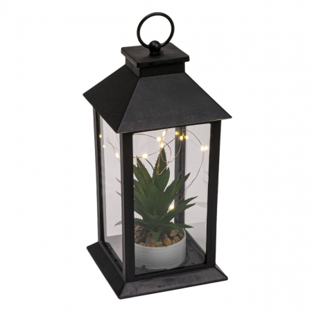 Felinar decorativ negru cu LED, Lioness, 14 x 14 x 22 cm [2]