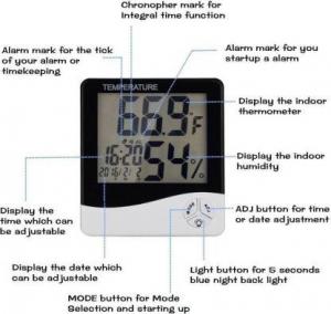 Ceas Digital Cu Termometru Si Higrometru Ecran LCD HTC-1 [2]