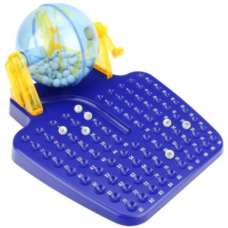 Joc Bingo Lotto pentru Copii si Adulti, 90 Bile Numerotate, 24 Bilete, Minim 2 Jucatori, Albastru
