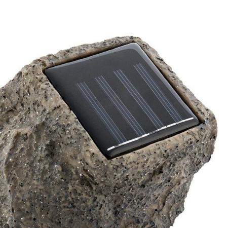 Lampa solara in forma de piatra, 4 leduri, autonomie 6 ore, Gri [1]