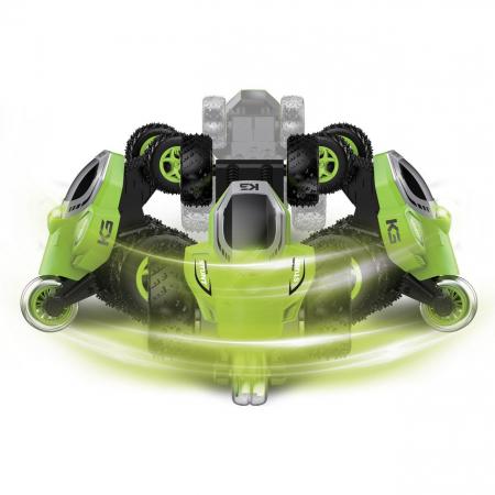 Masinuta electrica cu telecomanda pentru acrobatii, 5 roti, control de la distanta, cu lumina si functii complete, viteza maxima 9 km/h, rotire 360ᵒ, Smartic®, verde [2]