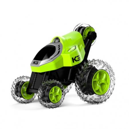 Masinuta electrica cu telecomanda pentru acrobatii, 5 roti, control de la distanta, cu lumina si functii complete, viteza maxima 9 km/h, rotire 360ᵒ, Smartic®, verde [3]