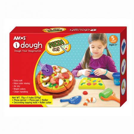 Plastilina AMOS 5/set ID75P5PZ Pizza 75g Dough + 5 accesorii, Kitchen Creations