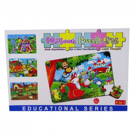 Puzzle pentru Copii, 4 in 1, Ferma animalelor, 24 de Piese [0]