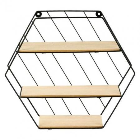 Raft decorativ cu 3 polite pentru perete din metal, forma hexagonala, Negru/Crem [0]