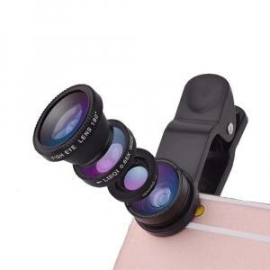 Set Kit 3in1 Lentile Profesionale pentru Telefon sau Tableta - Fish Eye Macro Wide Angle - GRI [1]