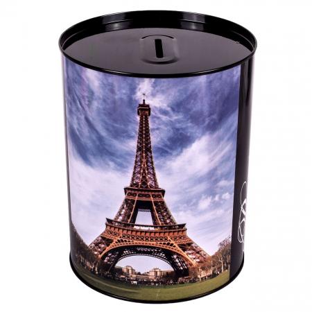 Pusculita metalica cu imprimeu turnul Eifel, 12 x 15 cm [0]