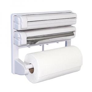 Dispenser de bucatarie triplu,hartie,folie aluminiu,folie stretch Deasupra dispenser-ului se pot pastra borcane de diferite dimensiuni. Caracteristici - realizat din material plastic tip ABS design si [3]