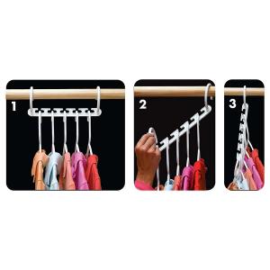 Set 8x Umerase Magic organizatoare haine, economisire 50% spatiu, Wonder hanger, alb [2]
