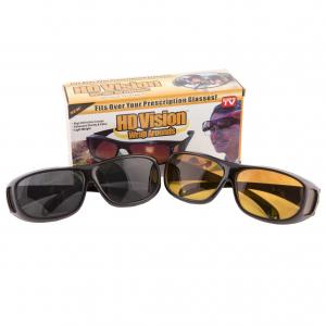 Set 2 ochelari pentru condus ziua si noaptea, HD VISION, lentila portocalie si fumurie, unisex [0]