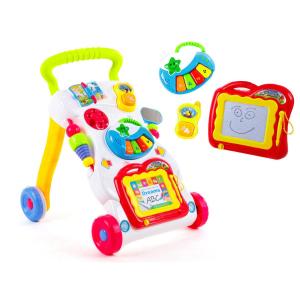 Antepremergator Baby First Step, Jucarii detasabile, tabla de scris, telefon, pian, toate detasabile, lumini si sunete, 45 cm inaltime [0]