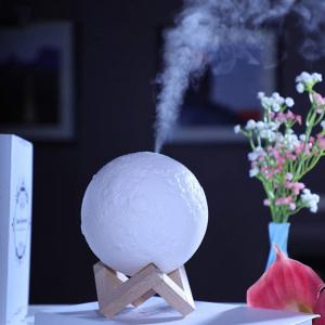 Lampa 3D Aromatherapy Diffuser Umidificator lumina alb + galben imprimata 3D reincarcabila cu acumulator,modelul nou cu Stand Lemn cadou AK3800 [1]