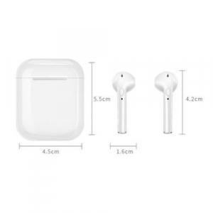 Casti wireless I9S True Twin Stereo White, Compatibile Android & iOS, Conectare BlueTooth, Docking Station [2]