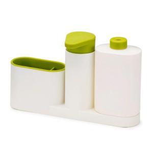 Set organizator de chiuveta 3 in 1, Dispenser Detergent de Vase, Sapun Lichid si Suport pentru Burete de Bucatarie, alb/verde [1]