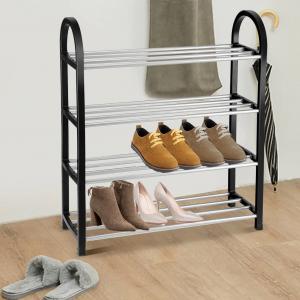 Suport pentru pantofi din plastic si aluminiu, Yosoo, 3 rafturi, Negru/Argintiu [0]