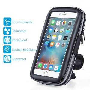 Suport husa telefon mobil pentru bicicleta si motocicleta, rezistent apa si socuri, touchscreen, 360* rotativ, negru [0]