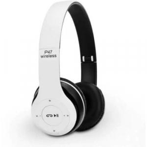 Casti bluetooth cu microfon si radio, pliabile, TF Card/FM Stereo Radio/MP3 Player/Wireless P47 alb [0]