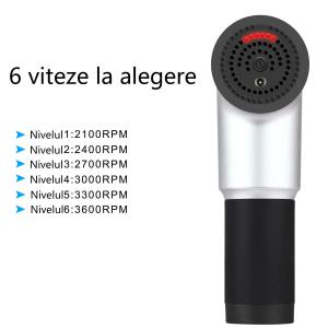 Aparat de masaj Gun Profesional, LED, 240V, 4 capete interschimbabile, 6 Trepte de viteza, Negru/Argintiu [3]