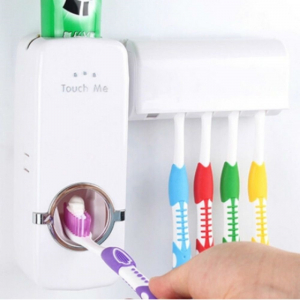 Dozator pasta de dinti cu suport 5 periute de dinti, fixare pe perete, alb [0]